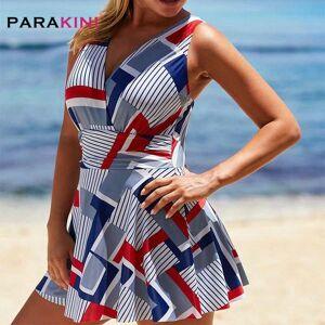 DHgate parakini 2021 new plus size tankini set swimsuit cross strap v neck geometric print swimdress &shorts women cross backless suit
