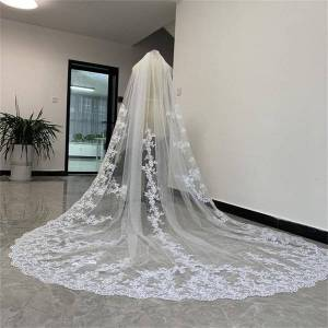 DHgate bridal veils wedding with comb lace applique one layer custom made accessories 250cm long veil