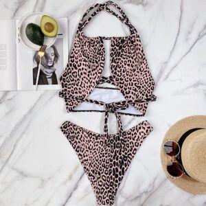 DHgate beachapche 2021 halter leopard bikini women swimwear female swimsuit two-pieces bikini set wrap around bather bathing suit