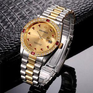 DHgate wristwatches 2021 reginald watches men luxury gold stainless steel date analog quartz diamond watch relogio masculino