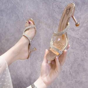 DHgate dress shoes silver high heels with sequins for women, elegant lady stilettos, half mules (height 7.5cm 2.95inches)