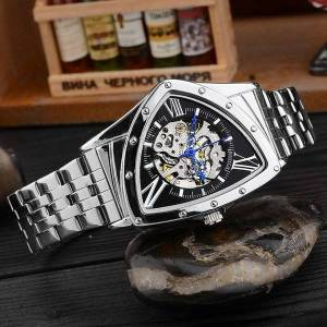 DHgate wristwatches men's watch business fashion hollow triangle automatic mechanical stainless steel belt leisure waterproof watches male