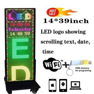 """DHgate vertical led sign full color scrolling message display ph5 mm 14""""x39"""" outdoor programmable image text usb and wifi support video g"""