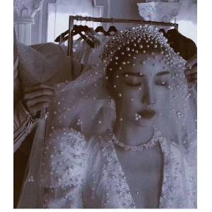 DHgate bridal veils long pearls wedding veil tulle 1t white elegant luxurious beaded bride ivory party without comb