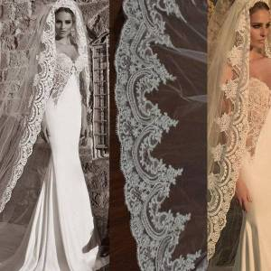 DHgate bridal veils 2021 lace long wedding veil one layer cathedral length with comb voile de mariee accessoires