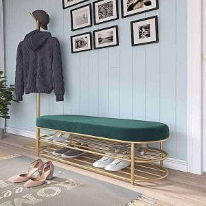 DHgate net celebrity light luxury flannel soft bag bench nordic long cabinet type seatable shoe rack household furniture porch accommodating stool