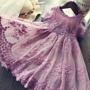 DHgate lace flower girls princess girl dresses birthday party kids for embroidery ball gown wedding evening children clothes