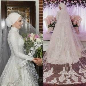 DHgate bridal veils arrival muslim netting lace edge one layer applique beaded wedding bride wraps