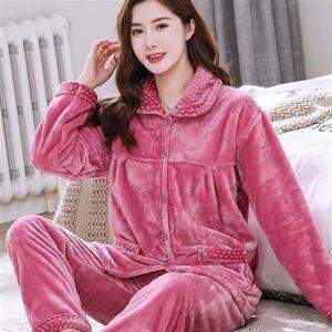 DHgate women's sleepwear dot pajamas winter flannel set women pocket pajama 2piece/suit full sleeve pant homewear big obsu