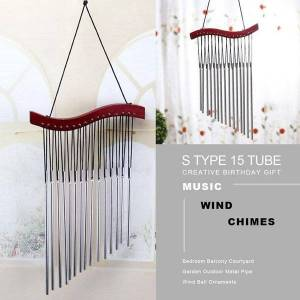 DHgate type 15 tube wood music wind chimes creative birthday gift bedroom balcony courtyard garden outdoor metal pipe chime orna decorative objects