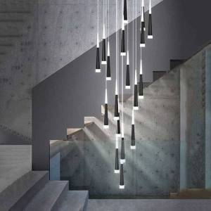 DHgate rotate staircase led chandelier lighting cone tube kitchen island hanging lamp modern creative duplex building long chandeliers