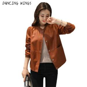 DHgate women's jackets dancing wings korean style loose stand collar women's pu leather jacket motorcycle c4sp