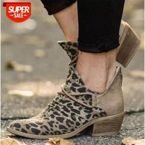 DHgate 43 size leopard print short boots 20 europe and america pointed toe color matching nude women's #468j