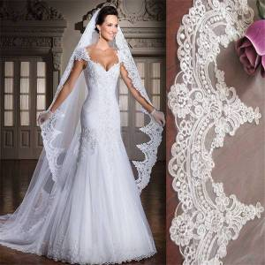 DHgate white/ivory 3m cathedral length lace edge long bridal head veil with comb wedding accessories velos de novia