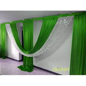 DHgate 3m high*6m wide swags for backdrop party decoration background valance wedding backcloth stage curtain (10ft*20ft) backdrop with sequins dra
