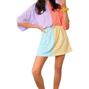 DHgate women's color-matching t-shirt dress summer casual wild loose short sleeves midi dress