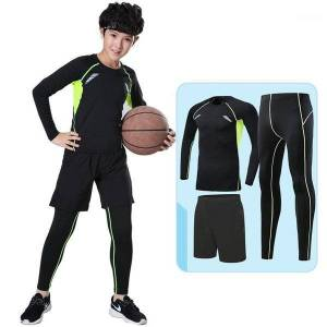 DHgate kids compression running sets outdoor sports kit basketball soccer football shirts suit fitness shorts leggings pants breathable1