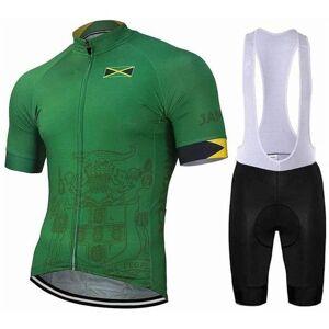 DHgate summer team jamaica men's green cycling jerseys short sleeve shirt bib set kits road track mtb biking race wear breathable racing sets