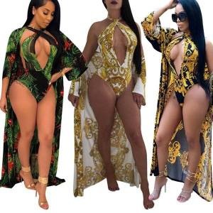 DHgate women's fashion print bikini two piece halter asymmetric hem swimdress tankini set padded beachwear swimsuit push up bikini plus s