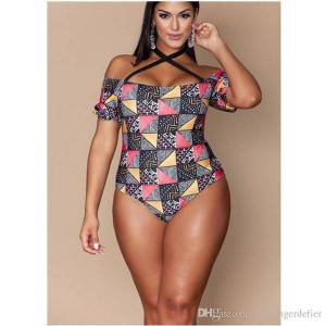 DHgate manufacturers wholesale new swimsuits european and american women's large-size fat women's print shoulder swimsuit bikini