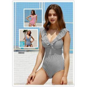 DHgate v neck backless ruffled new retro striped beach cloth 1piece push up padded high waist swimwear women monokini bathing suits