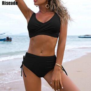 DHgate riseado bikinis push up swimwear womens swimsuits 2021 black bikini set high waist biquini drawstring summer beachwear