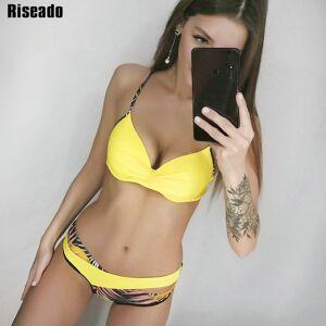 DHgate riseado push up bikini set patchwork swimsuits ruched swimwear women bikini 2021 biquini strap yellow beach wear summer xxl