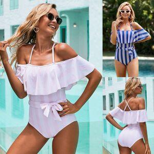 DHgate 2020 new off the shoulder solid swimwear women one piece swimsuit female bathing suit ruffle monokini swim wear xl xxl sy411773