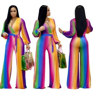 DHgate fashion gradient deep v wide leg micro-la casual jumpsuit foreign trade supply a generation clothes for women