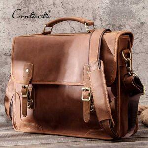 "DHgate contact's casual men handbags crazy horse leather men briefcase business lapbag for 15.6"" male messenger shoulder bags"