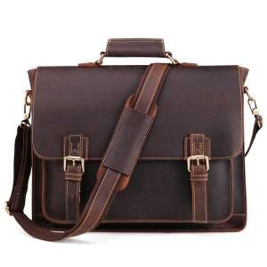 DHgate genuine leather men's briefcase business retro handbag 15.6-inch computer bag