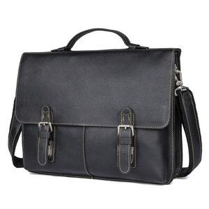 "DHgate luufan genuine leather men's briefcase fit 15.6"" pc business handbag real leather male lapbag man crossbody bag black brown"