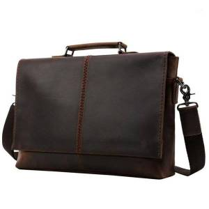 DHgate maheu vintage leather briefcase 100% genuine leather business shoulder bag with cover 15.6 inch computer bag solid cowskin1