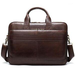 DHgate men's briefcase bag men's genuine leather 15.6 inch lapbag business tote for document office portable lapshoulder1