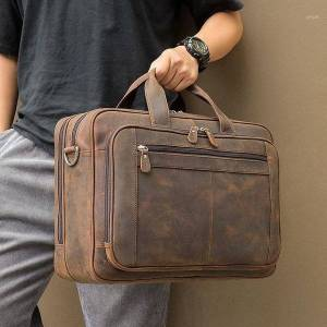 DHgate nesitu large brown black coffee genuine leather briefcase male portfolio 15.6'' 17'' lapbusiness travel men messenger ba