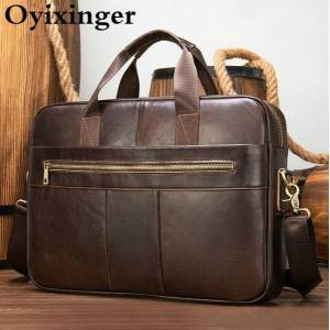 DHgate oyixinger leather briefcase men's genuine cowhide leather shoulder bag for 15.6inch laplarge capacity business handbag male