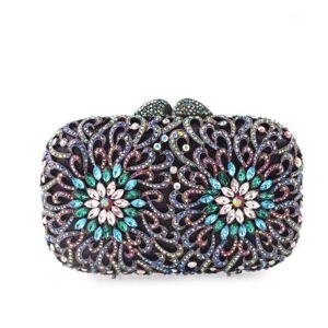 DHgate xiyuan flower women's crystal diamond clutch purse evening bag celebrity crossbody bag party purse torebka damska handbag1