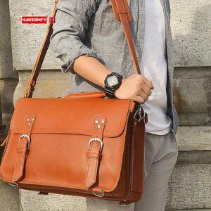 DHgate men's bag large capacity male 15.6 inch laphandbag business briefcase men shoulder tote bags retro crazy horse leather