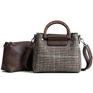 DHgate 2 bags women's designer handbag 2021 fashion new women bag wool stripes women tote bags girl shoulder messenger bag