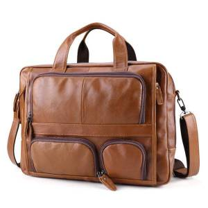 """DHgate genuine men's 15.6 """"17"""" portable real business tote work for medical leather jacket courier bag"""