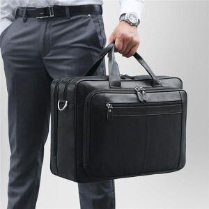 DHgate black coffee genuine leather men briefcase male portfolio 14'' 15.6'' 17'' lapbusiness travel men messenger ba