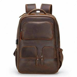 DHgate men's crazy horse genuine leather backpack business travel bags usb charging rucksack 15.6inch lapschool daypack