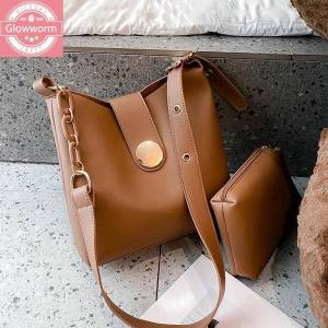 DHgate casual solid color bucket crossbody bags for women 2021 chain women messenger bag 2 pcs/set female shoulder bag women's handbags