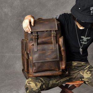 """DHgate backpack brand crazy horse leather men's large capacity genuine shoulder bags vintage 17.2"""" laptravel bolsa"""
