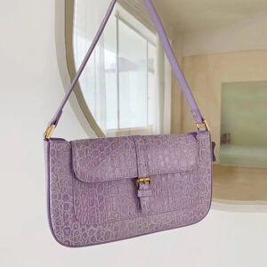 DHgate 75% off luxury handbag women's new french stick advanced sense crocodile fashion shoulder bag purple underarm bag 4q30