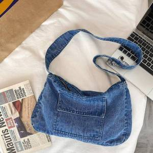 DHgate student denim fabric sling shoulder bag teenager casual high street daily soft vintage retro jeans pocket zipper messenger bag