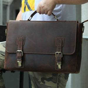 DHgate crazy horse leather briefcase business bag real cowskin men male handbags lap15.6 brief case inch genuine briefcases