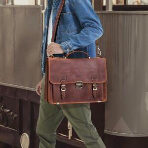 DHgate briefcases genuine leather men's briefcase large capacity 15.6 inch lapbag business handbags male lock shoulder messenger bags1 32ih