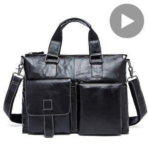 DHgate briefcases men hand bag genuine leather handbag briefcase shoulder lapfor tote travel busin menger big fashion document a4 bolsas