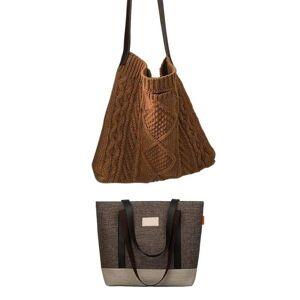 DHgate evening bags 2pcs wild messenger bag female atmosphere handbag with fashion winter plush retro women's knitted woven shoulder